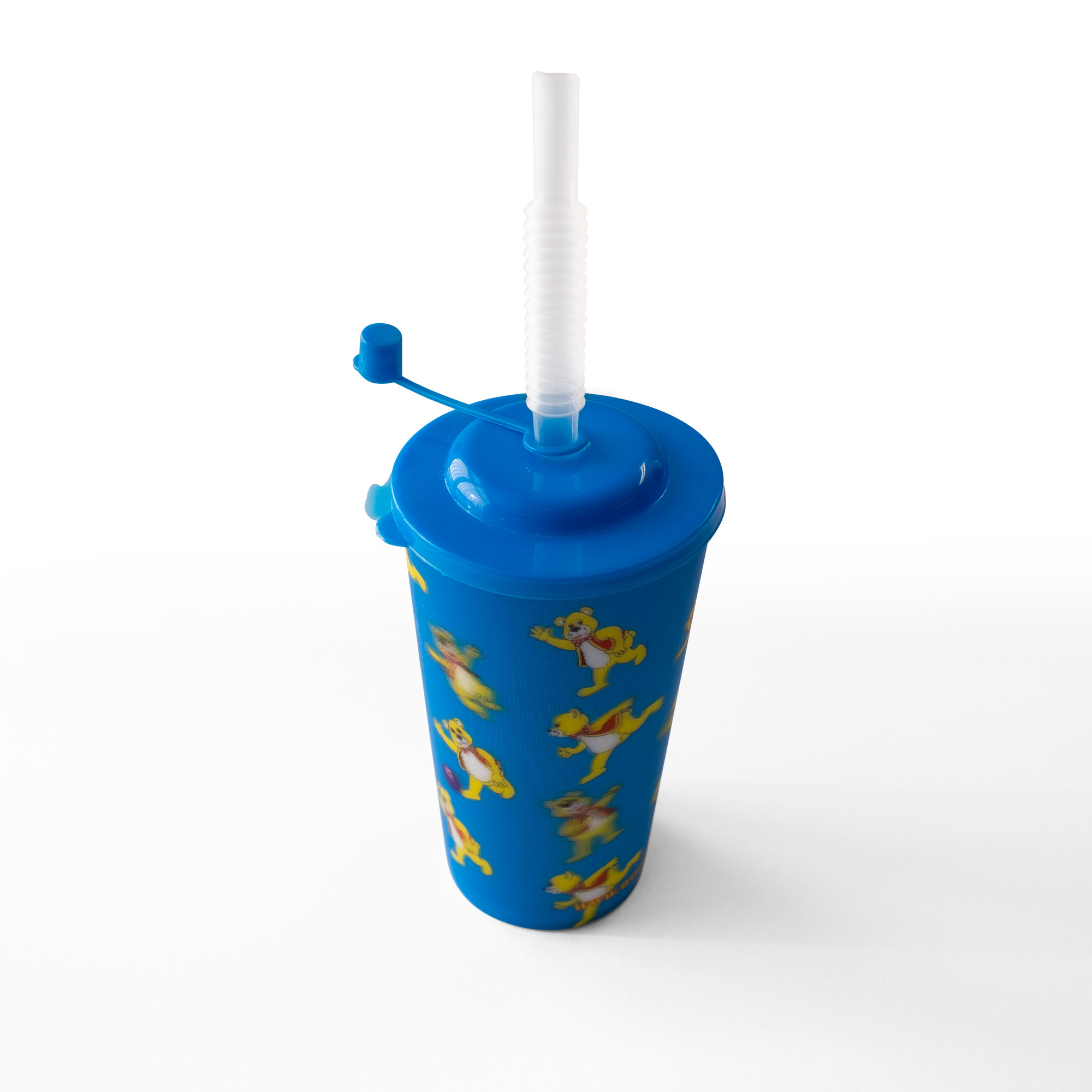 Kids Drinks Flask with straw in blue with a Woolly Bear pattern