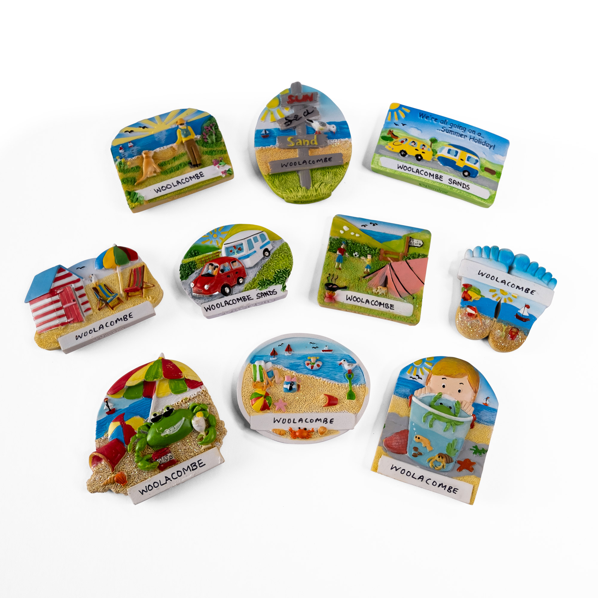 Woolacombe themed fridge magnets 10 individual designs cast in resin