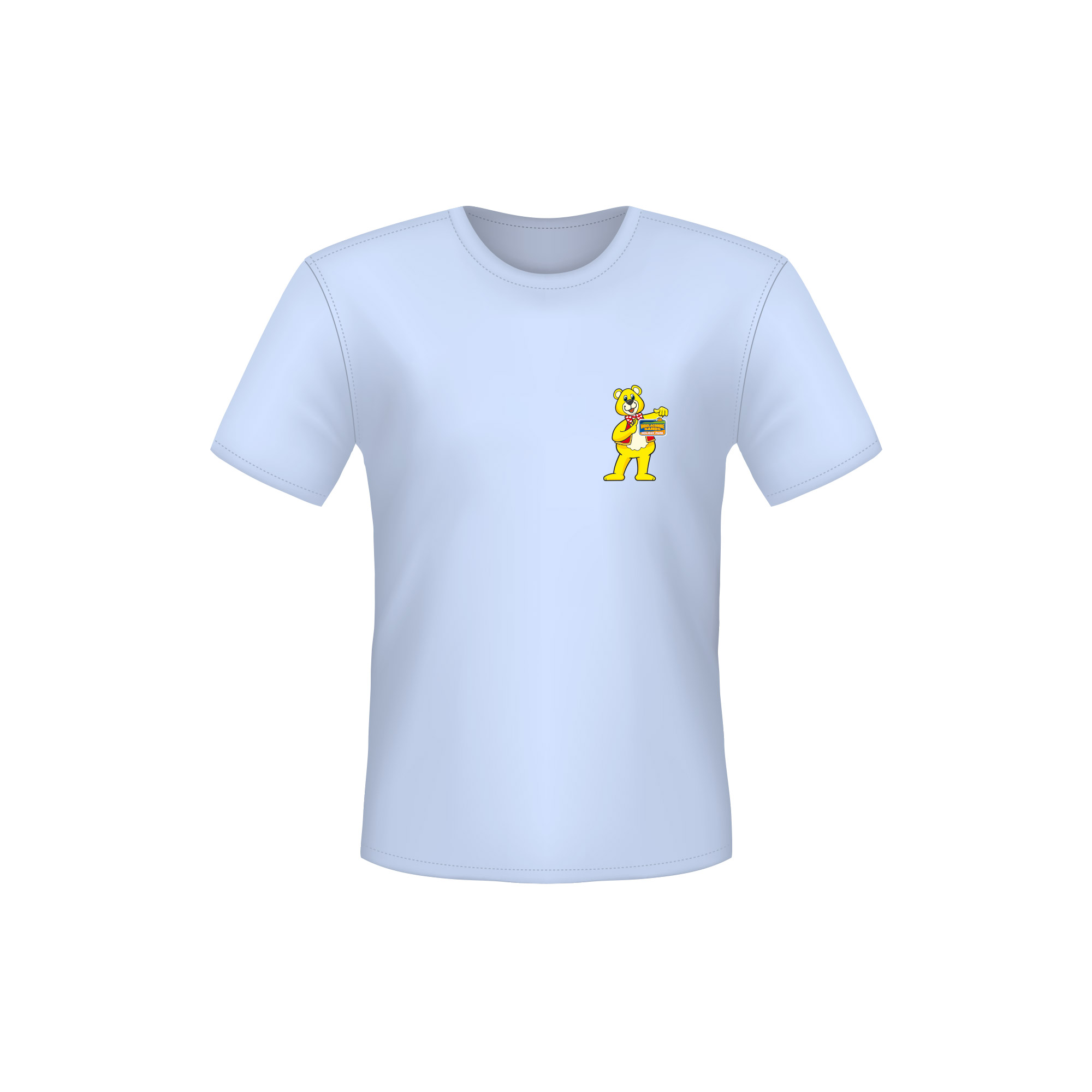 A Blue T-Shirt with a Woolly Bear Logo on the left side of the chest