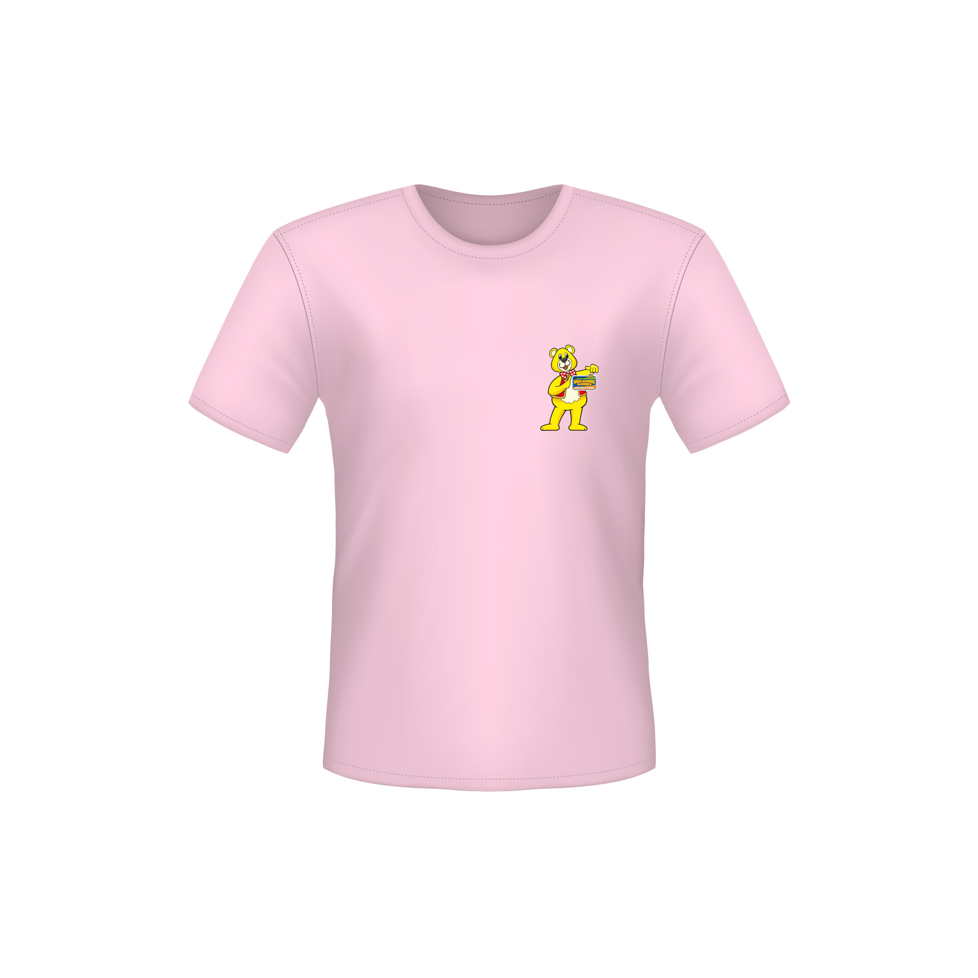 A Pink T-Shirt with a Woolly Bear Logo on the left side of the chest